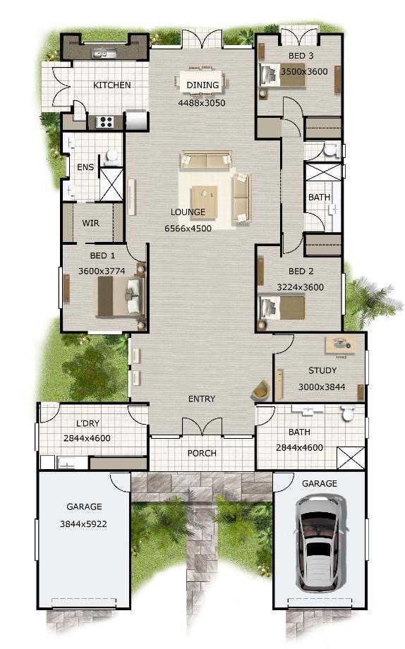 3 Bedroom Study House Plan 270kr Australian House Design 3 Bedroom Design Plus Many More 3 In 2021 House Plans Australia Bedroom House Plans Open House Plans