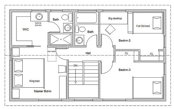 20 X 34 Universal Cottage Second Floor Plan I Like He Master