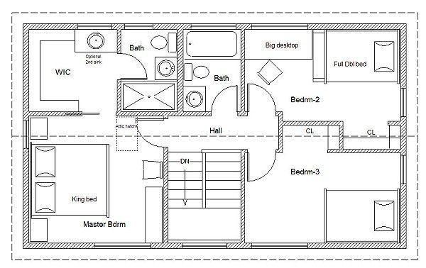 20 x 34 Universal cottage second floor plan. I like he