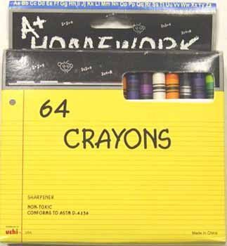 Crayons - assorted colors - 64 pack Case Pack 48