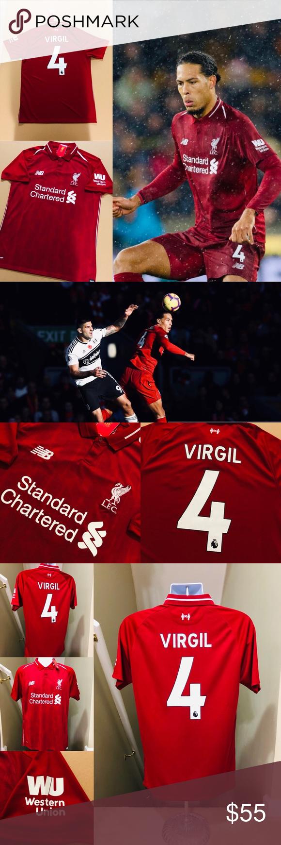 san francisco 6e730 ec302 2019 Virgil van Dijk #4 Liverpool FC Soccer Jersey 2019 ...