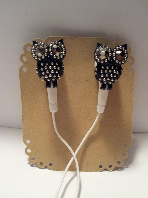 Black Crystal Owl Earbuds by HoneyBadgerBuds on Etsy, $12.00