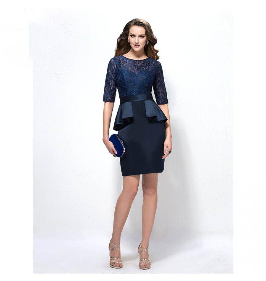 Hot u sexy mutter der braut kleid knielang dunkelblau abendkleider