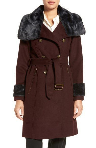 Vince Camuto Wool Blend Military Coat with Faux Fur Trim