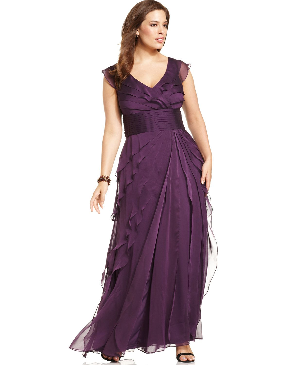 Adrianna Papell Plus Size Tiered Empire Gown | macys.com ...