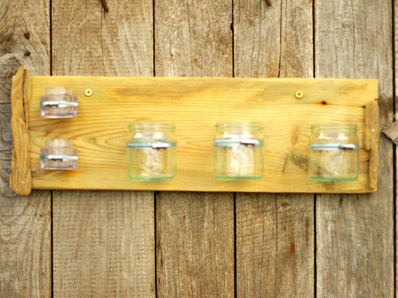 Treibholz Regal mit Gläsern, Schellen, Wandregal