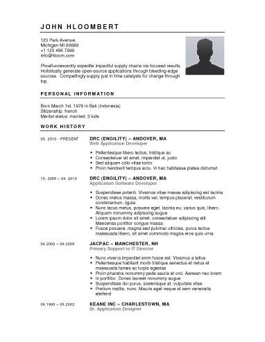 Button-Down- one of 279 free resume templates from hloom - free printable resume samples