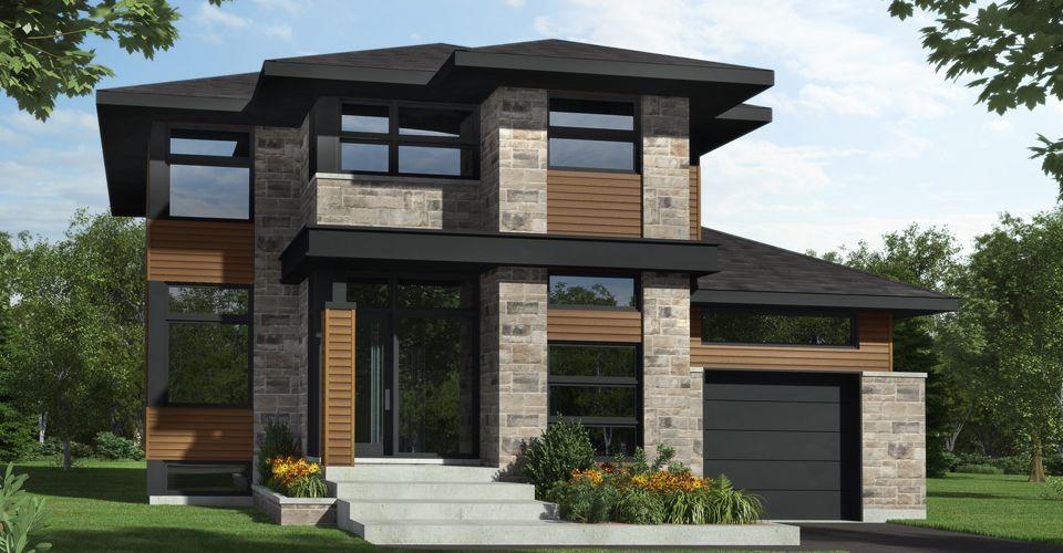 Cottage contemporain construit sur mesure par Guilmain Design dans le projet immobilier www.chemindelamontagne.com au pied du Mont-St-Hilaire
