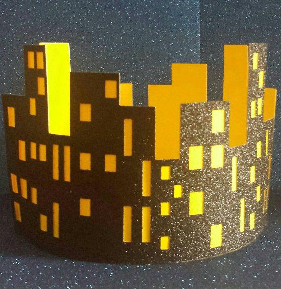 Cityscape Round Glitter Centerpiece Perfect For Superhero