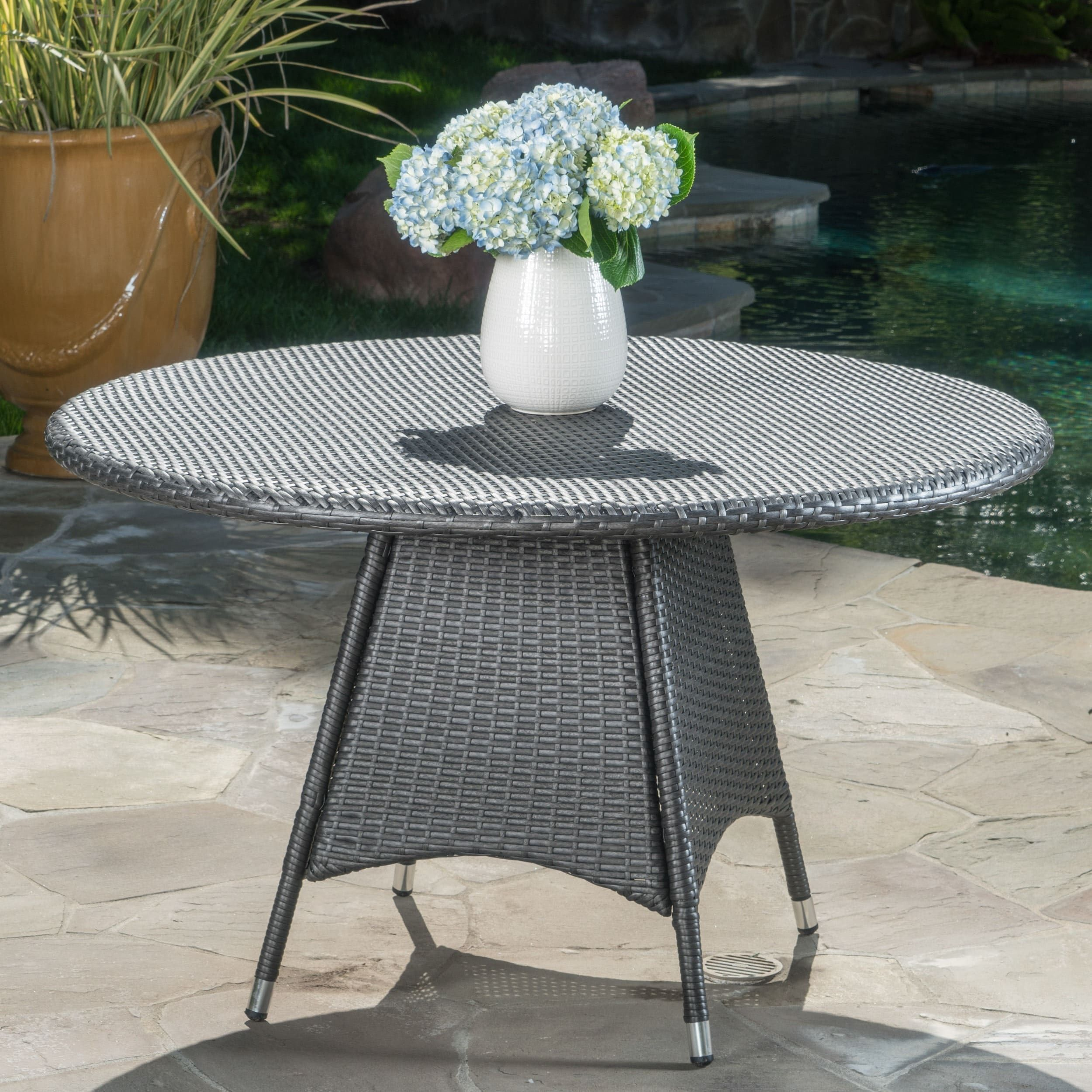 Corsica Outdoor Wicker Round Dining Table Only By Christopher Knight Home Grey