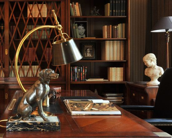 Fantastic Modern Residence Applying Classic Accent: Luxury Home Office  Table Furniture With Dramatic Red Top Decorated With Decorative Sculp.