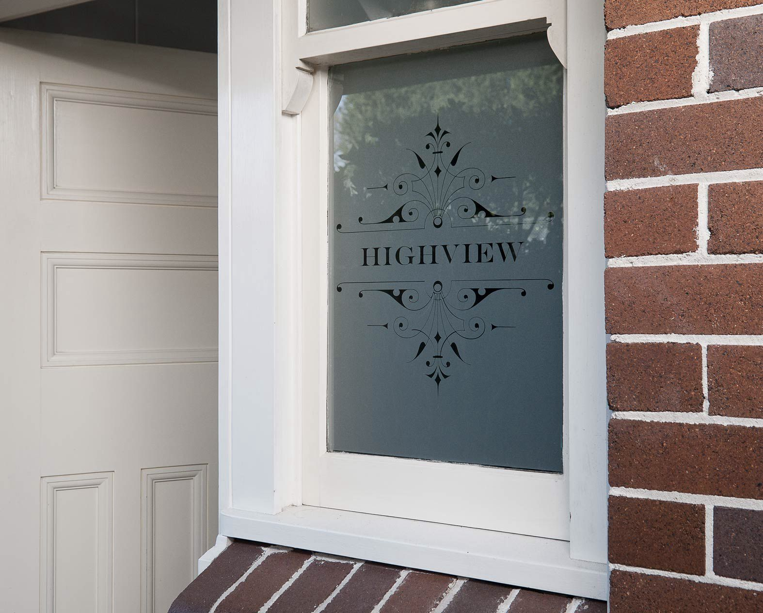 Frosted House Name By Frost & Co Window Film | Front Door Window