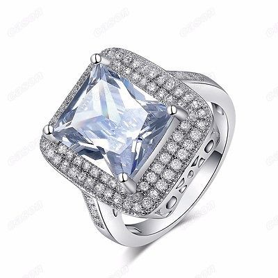 Big Clear Square Cubic Zirconia Women Wedding Ring 18K White Gold Plated Jewelry