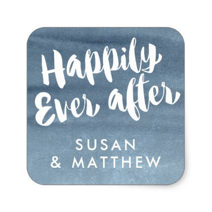 Happily Ever After, Favor Tag Blue Watercolor Favors, Wedding