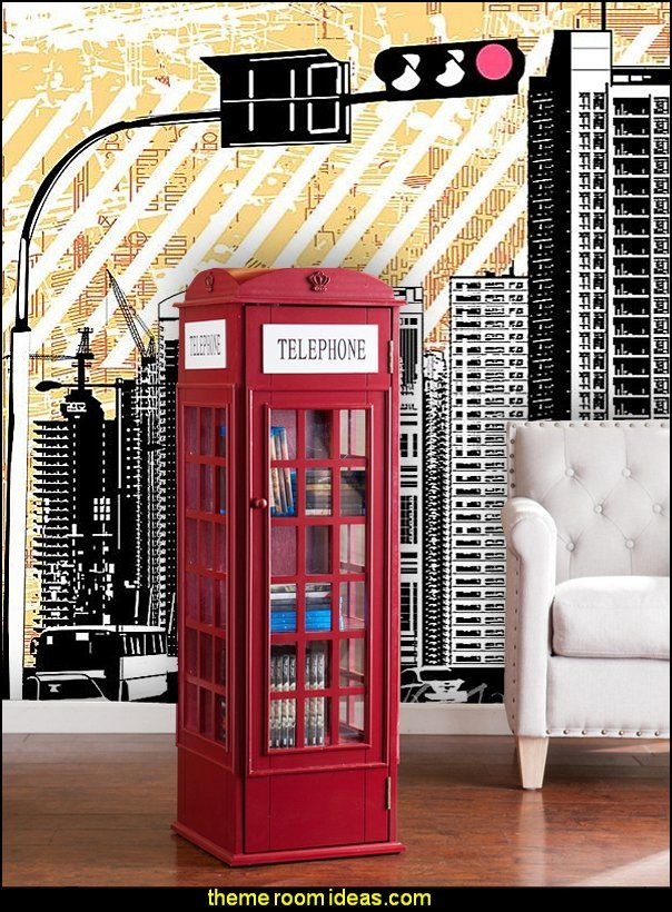 city themed bedroom phone booth storage cabinet grunge city silhouette wall 11132