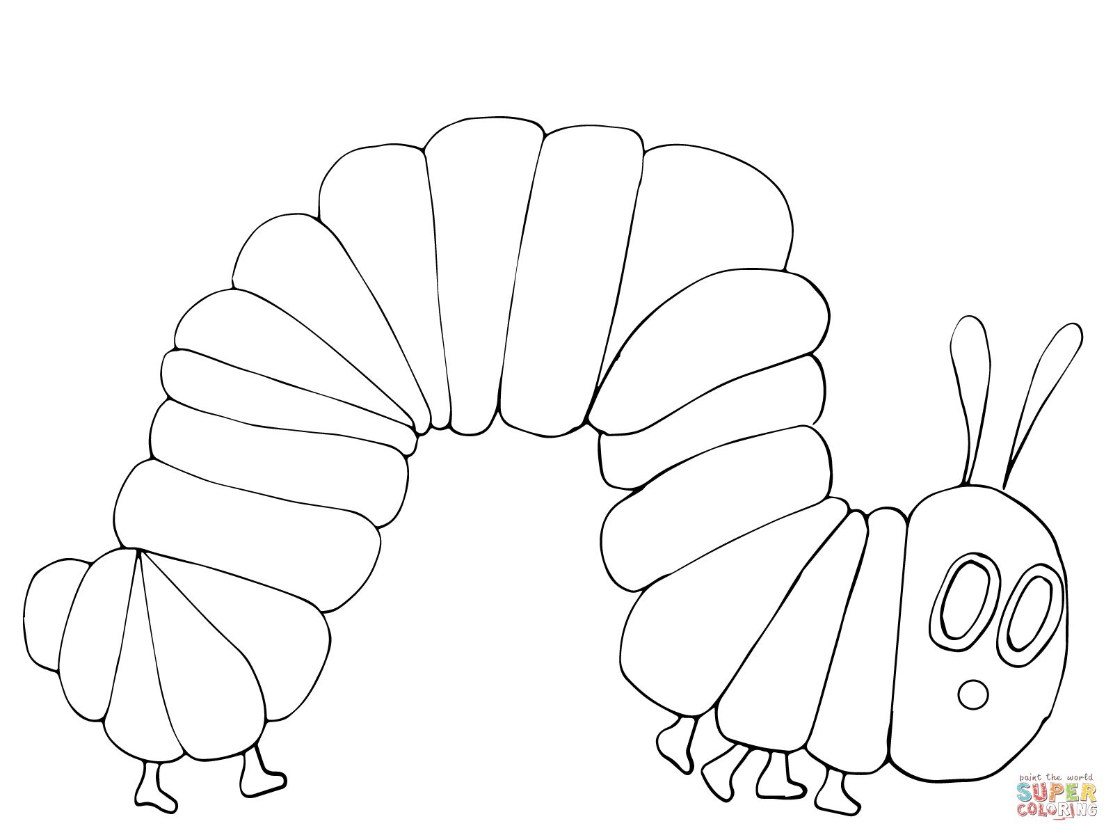 very hungry caterpillar coloring page supercoloringcom