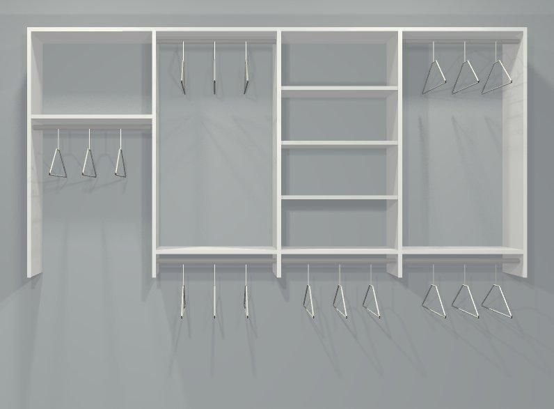 Reach In Closet Layouts For His And Her | FOUR SECTION WARDROBE CLOSET  ORGANIZER KIT