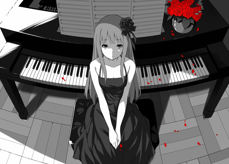 Dress Flowers Instrument Long Hair Mogumo Original Piano Polychromatic Rose Konachan Com Konachan Com Anime Wallpapers Piano Anime Anime Music Anime