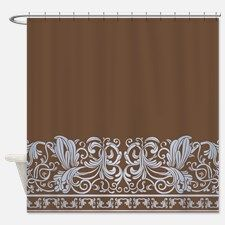 Chocolate Light Blue Damask Shower Curtain For