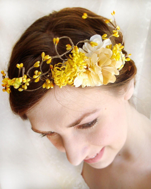 Fall Wedding Hairstyles With Flower Crown: Autumn Wedding Hair Crown