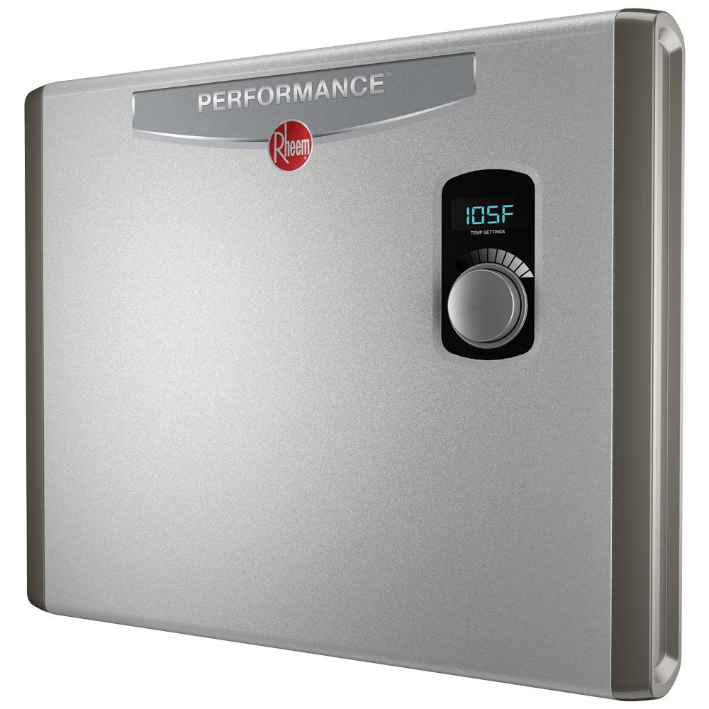 Rheem Performance 36 Kw Self Modulating 7 03 Gpm Tankless Electric Water Heater Retex 36 The Home Depot Tankless Water Heater Electric Water Heater Hot Water Heater