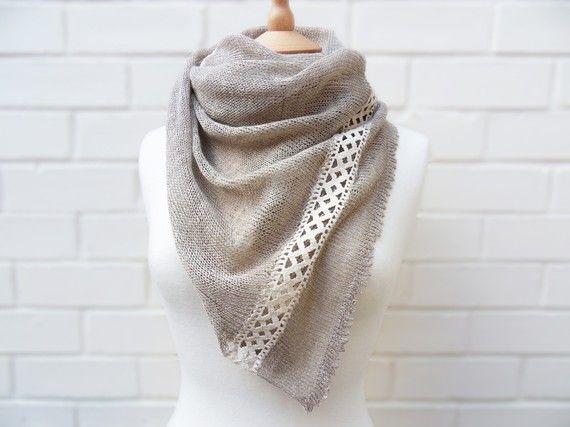 I die! It's so beautiful! Irish linen scarf-knit