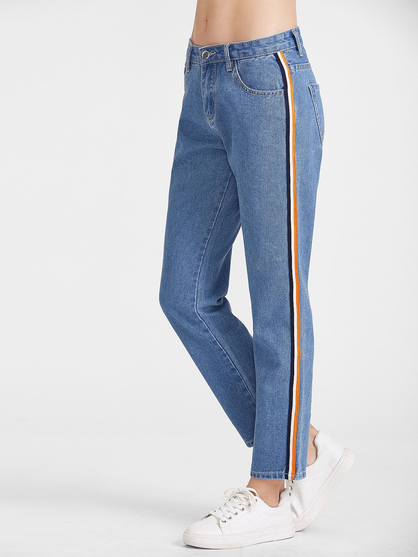4dfb392da Online shopping for Side Striped Tape Straight Jeans from a great selection  of women s fashion clothing   more at MakeMeChic.COM.