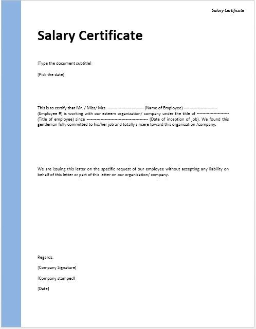 Salary Certificate Template Stationary Templates Pinterest - employee certificate sample