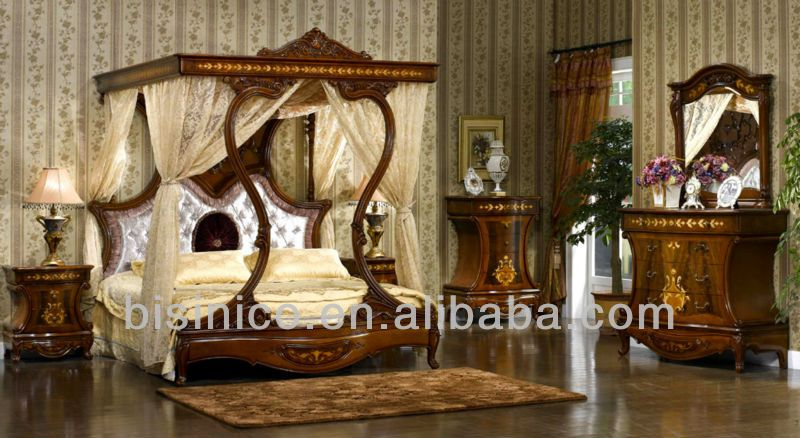 hand carved wood bedroom furniture oak royal luxury upholstered canopy bed night stands classical mahogany