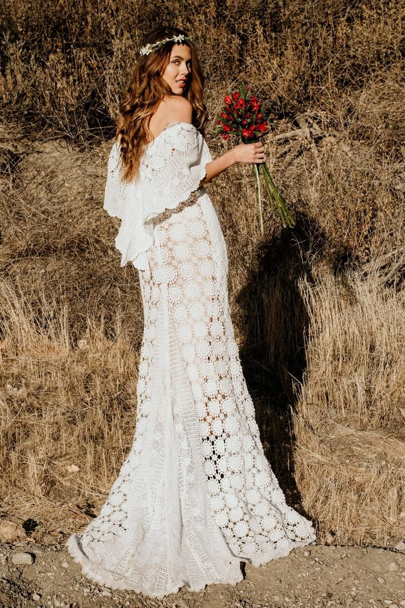 Crochet Lace Wedding Dress Made Of Vintage Off Shoulder Etsy Crochet Wedding Dresses Southern Wedding Dresses Maxi Dress Wedding [ 1191 x 794 Pixel ]