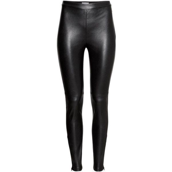 295f40f4aaff37 H&M Imitation leather trousers ($16) ❤ liked on Polyvore featuring pants,  leggings, bottoms, h&m, jeans, black, vegan leather leggings, zipper  leggings, ...