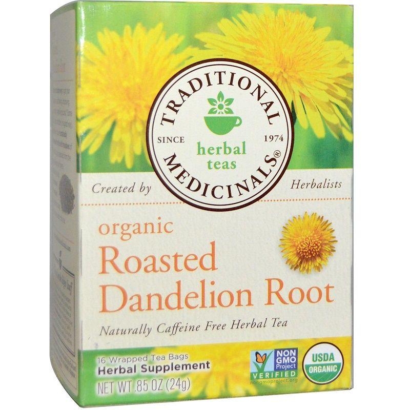 Traditional Medicinals جذور الهندباء العضوية المحمصة خال من الكافيين 16 كيس شاي مغل ف 0 85 أونصة 24 جم Dandelion Root Tea Organic Herbal Tea Roasted Dandelion Root