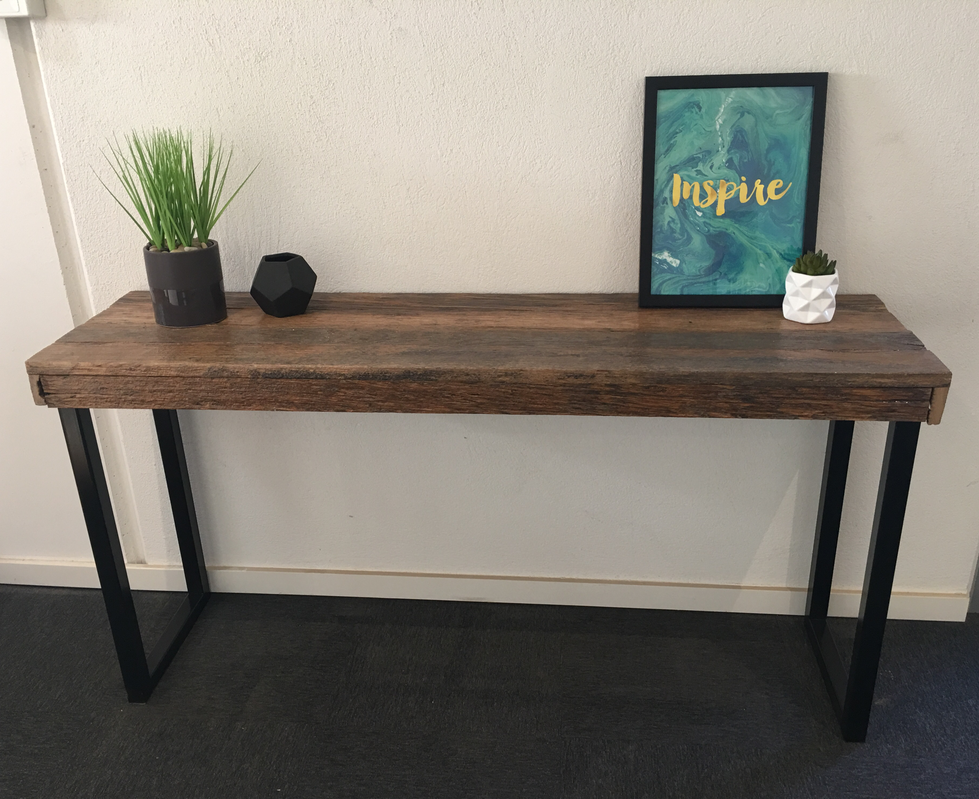 Recycled timber palings industrial hall table with black metal