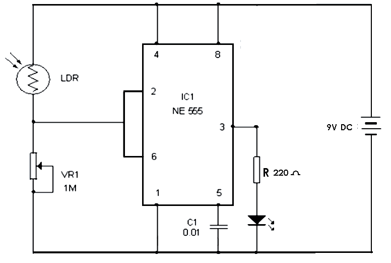 Automatic Street Light Using 555 Timer Circuit In 2020 Electronics Circuit Electronics Projects Electronics Technology
