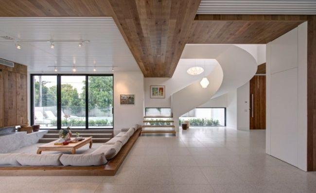 Wohnzimmer mediterran Mbel Decken Paneele Holz