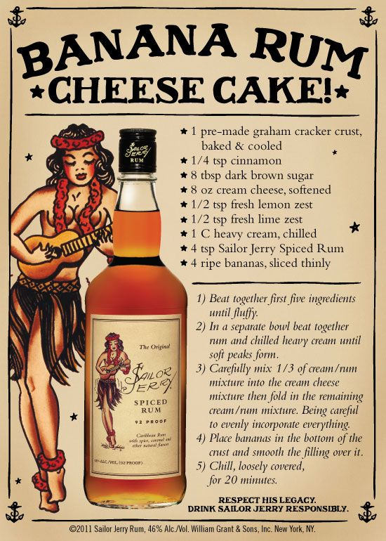 10 delicious recipes made with Sailor Jerry Rum... desserts and dinners, so making these