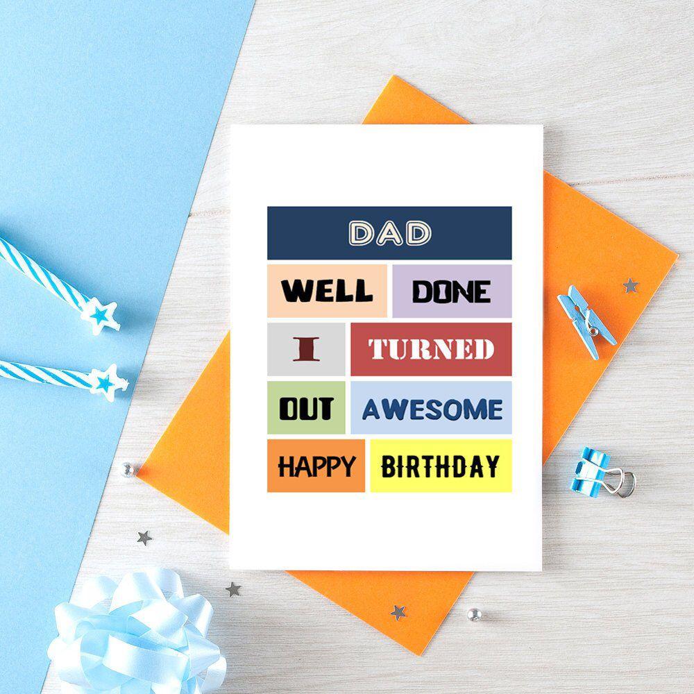 Funny dad birthday card funny birthday card for dad