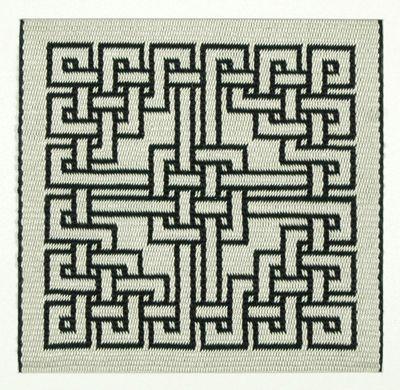 interlacing pattern in double-faced tablet weaving. Marijke van Epen
