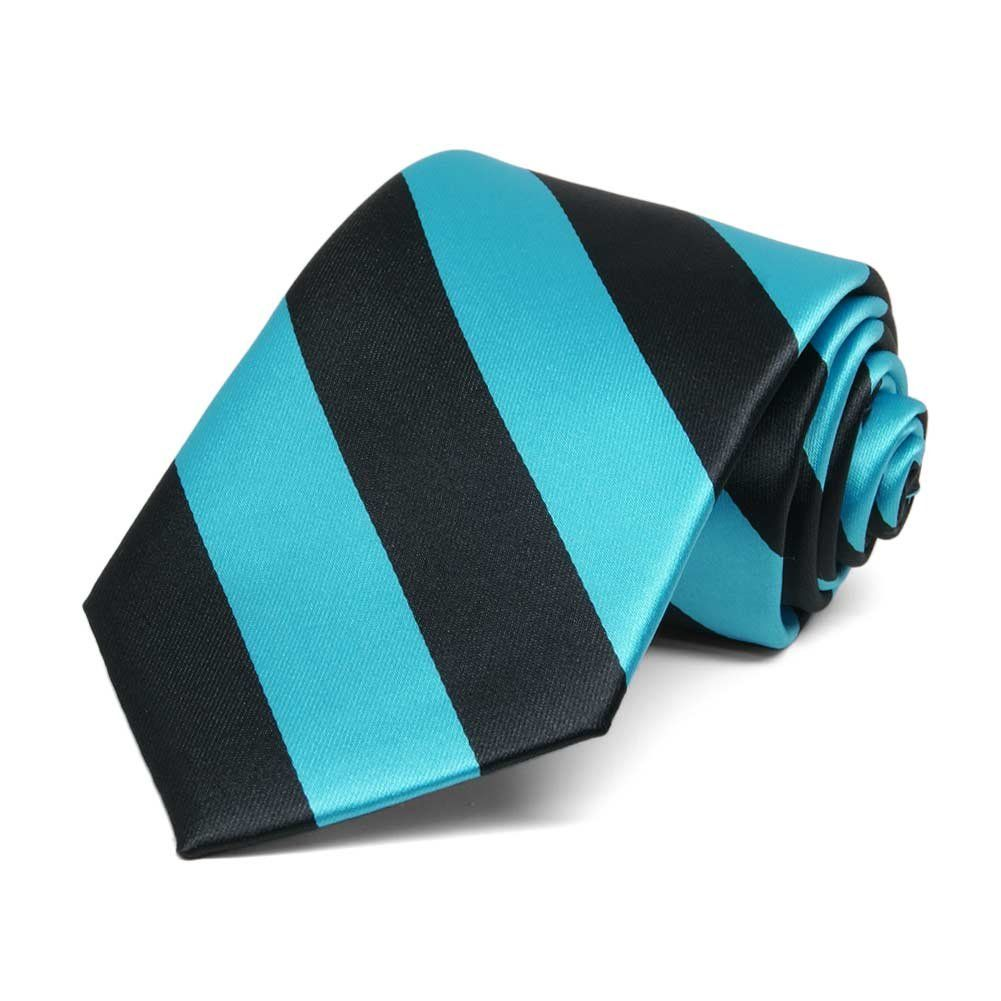 """TieMart Boys' Turquoise and Black Striped Tie. Self-tie style. 3"""" width, at the widest point. 48"""" length, tip to tip. Stripes measure approx. 0.75"""" wide. Recommended size for boys 8- to 13-years old."""