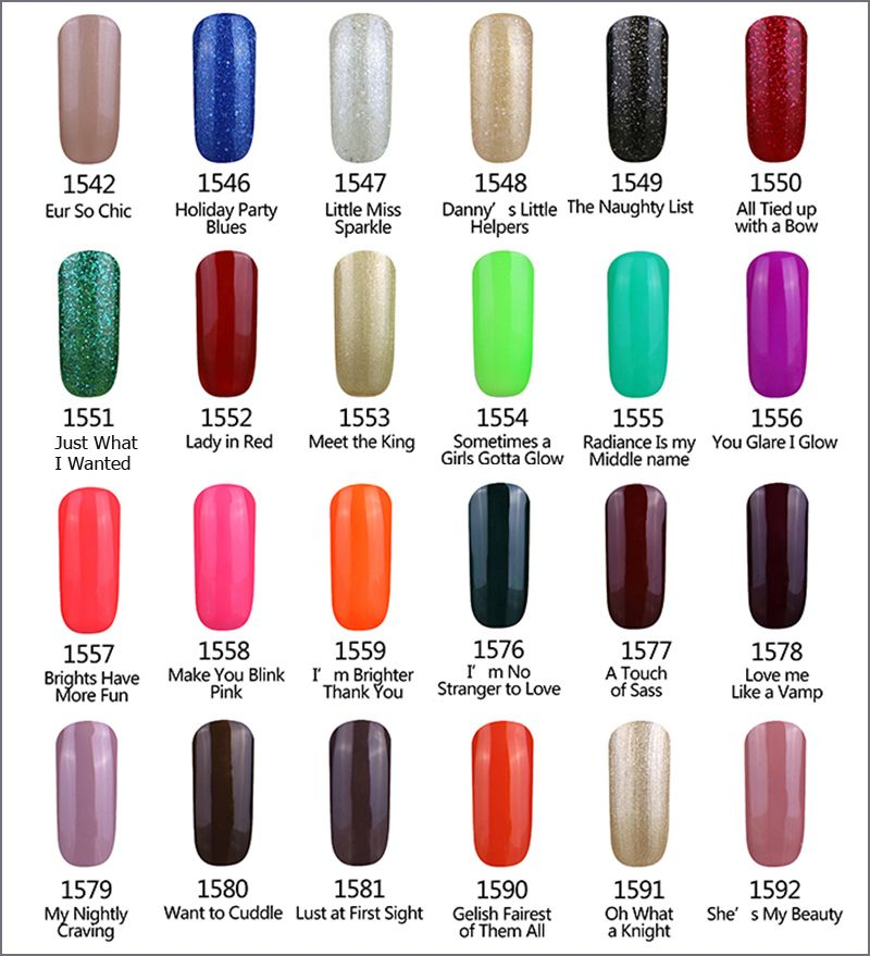 Gelartist Gelish Gel Nail Polish Colour Swatch Charts In 2020 Gel Nail Polish Colors Gelish Gel Nail Polish Uv Gel Nail Polish