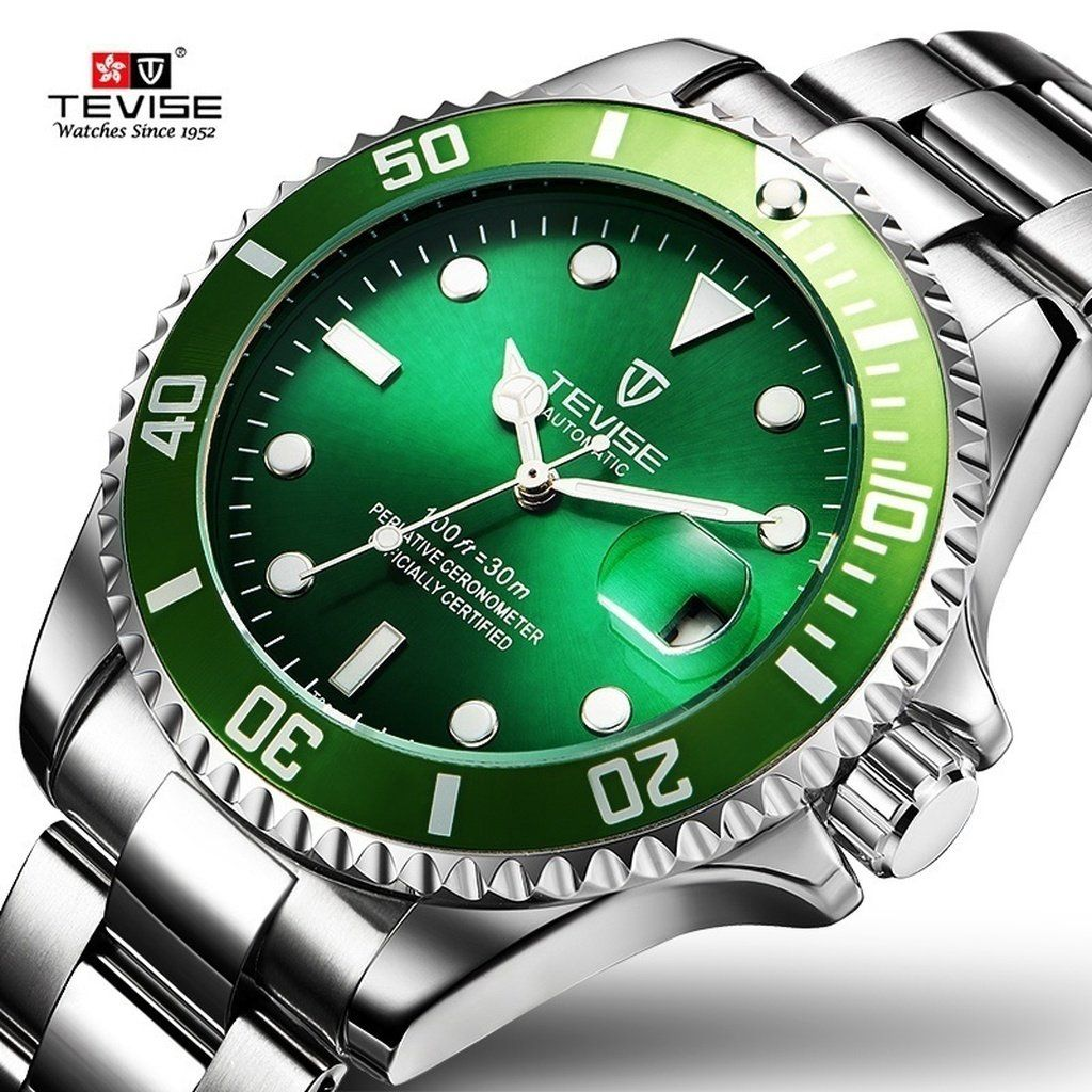 03aebd7f0198 2017 Papel Tevise Marca Hombres Reloj Mecánico Automático Fecha Fashione  Submariner Reloj Masculino Reloj Hombre de