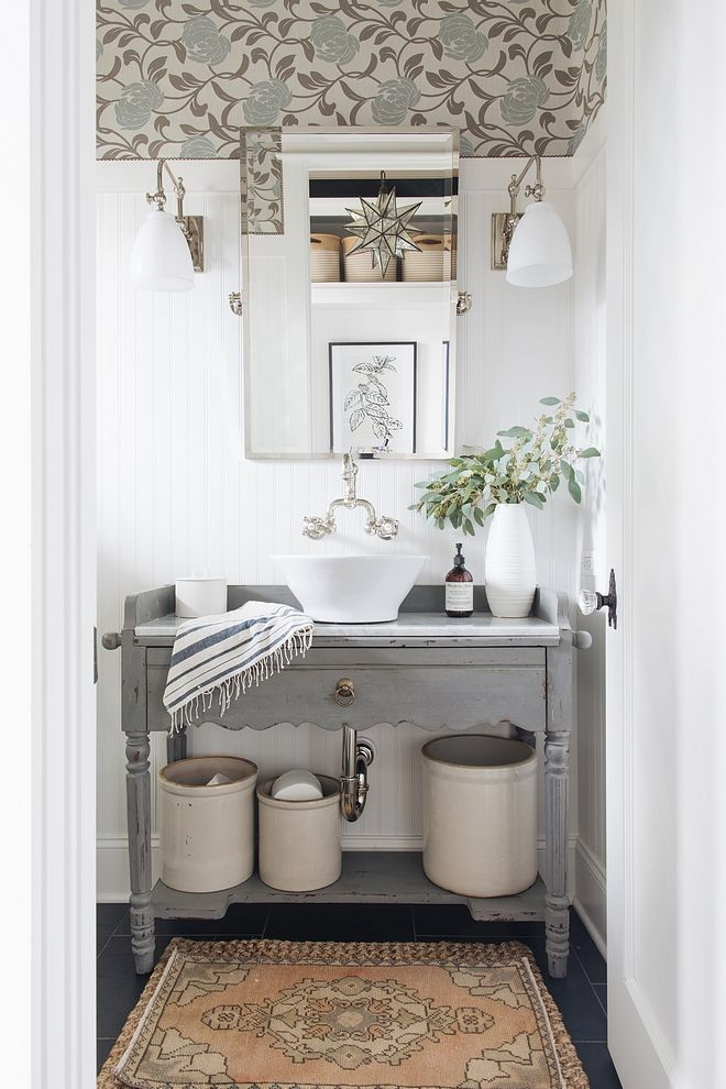 Boho Bathroom Design With Wallpaper And Beadboard And Rug