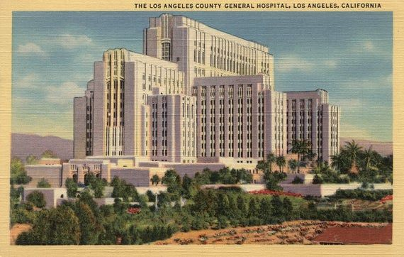 Los Angeles County General Hospital 6 Sizes Art Prints Etsy Los Angeles County County Hospital Los Angeles