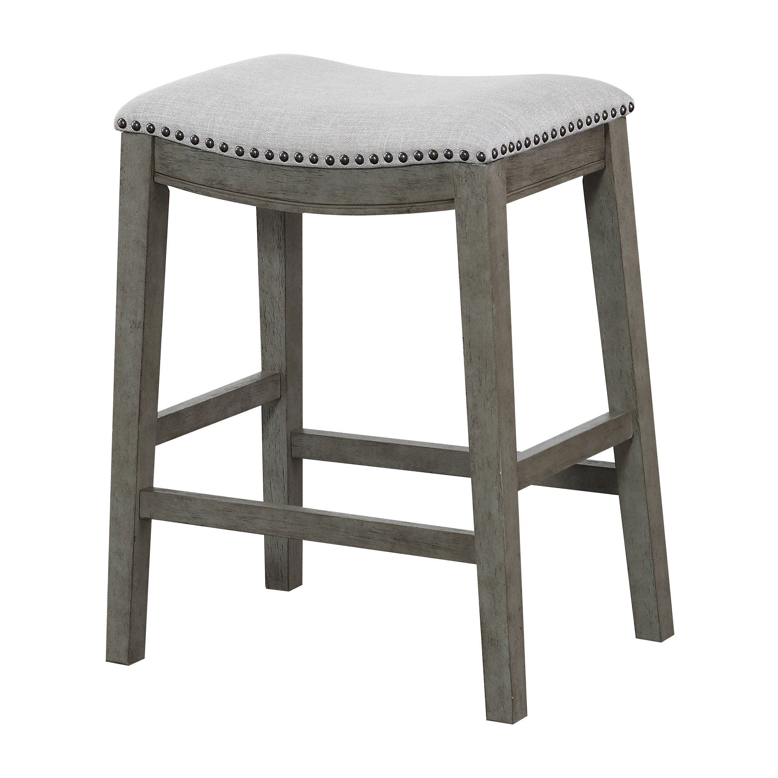 The Gray Barn Arbakka Grey 24 Inch Saddle Bar Stools Set