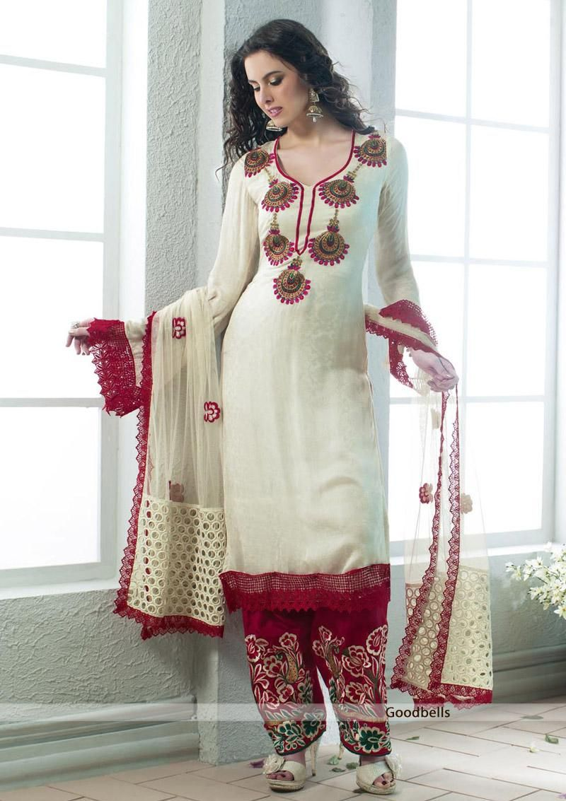 New in Store - Sober Pattern Cream Pakistani Style Salwar Kameez for only 4750.00 !!!