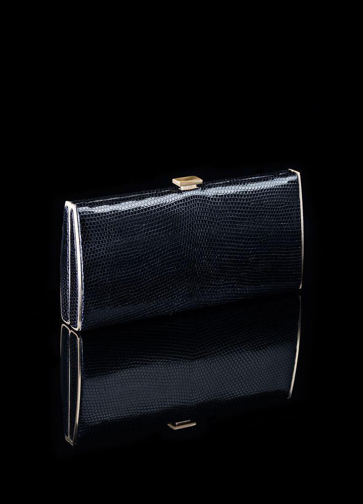 Box Wallet - Lizard, Black