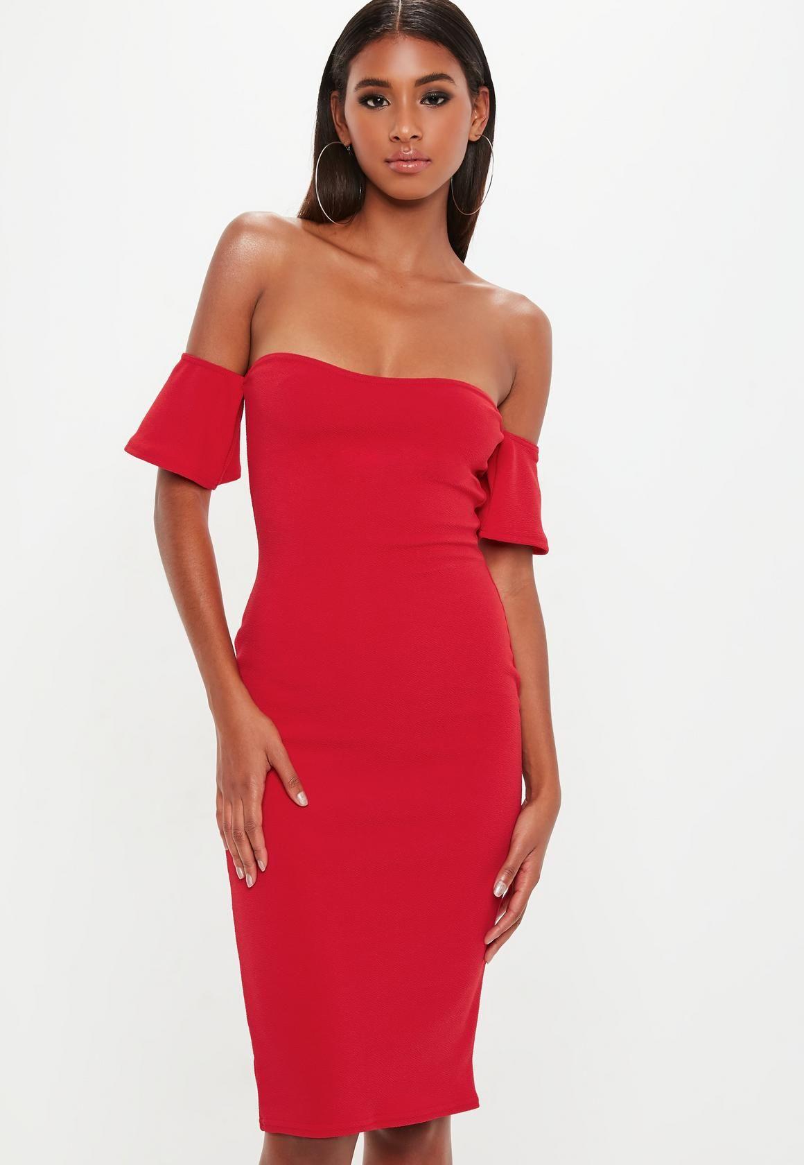 2e2e4e6bb3 Missguided - Robe mi-longue col bateau rouge | À acheter | Dresses ...
