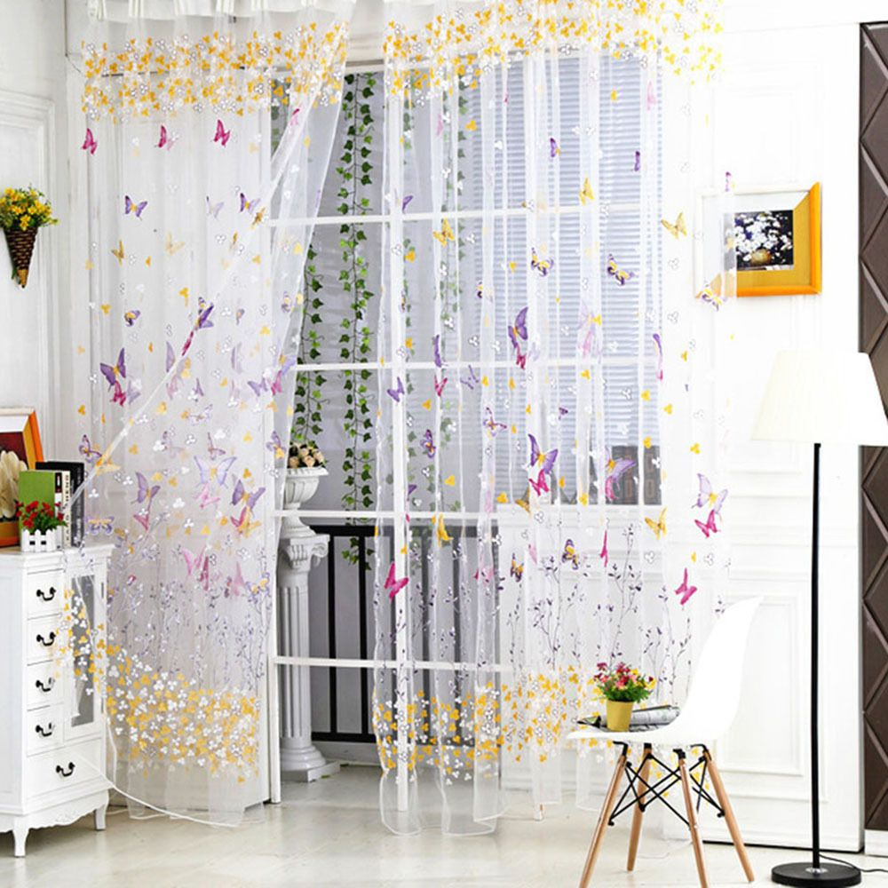 Butterfly embroidered tulle voile window curtain screening room