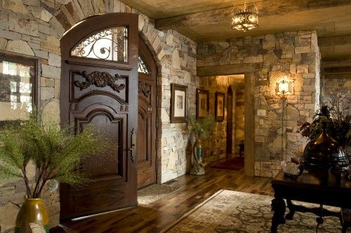 Rustic Foyer Jr : Great front door with the windowed arch top for light