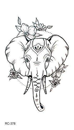 Mb Rc369 395 New Water Proof Temporary Tattoo Stickers Cartoon Coloful Kid S Draw Diseno De Tatuaje De Elefante Tatuajes De Elefantes Tatuaje De Una Sola Linea